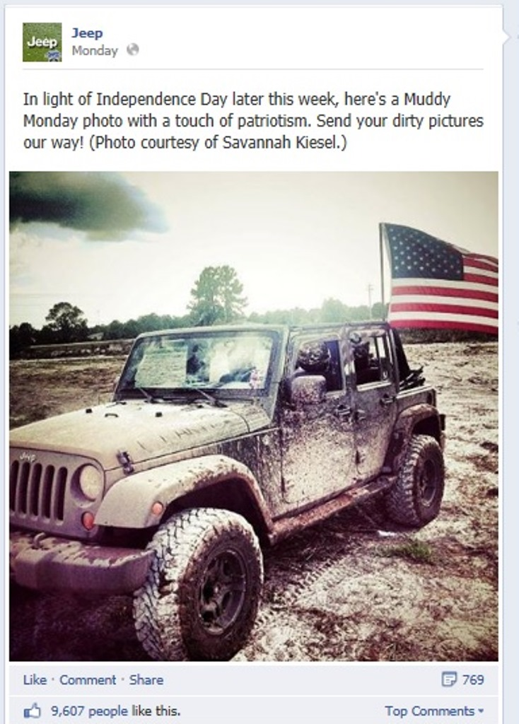 Picture:Screen shot of Jeep's official facebook page