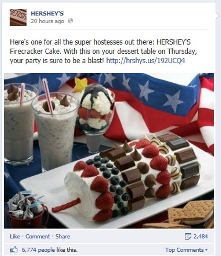 Picture:Screen shot of HERSHEY'S's official facebook page