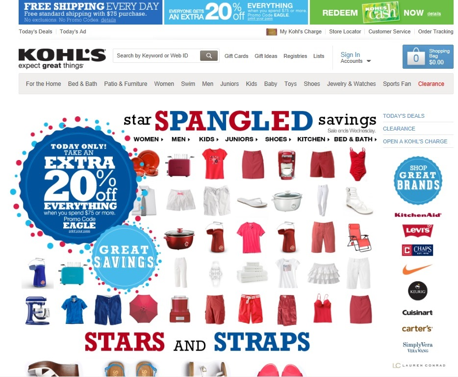 Picture:Screen shot of Kohl's website