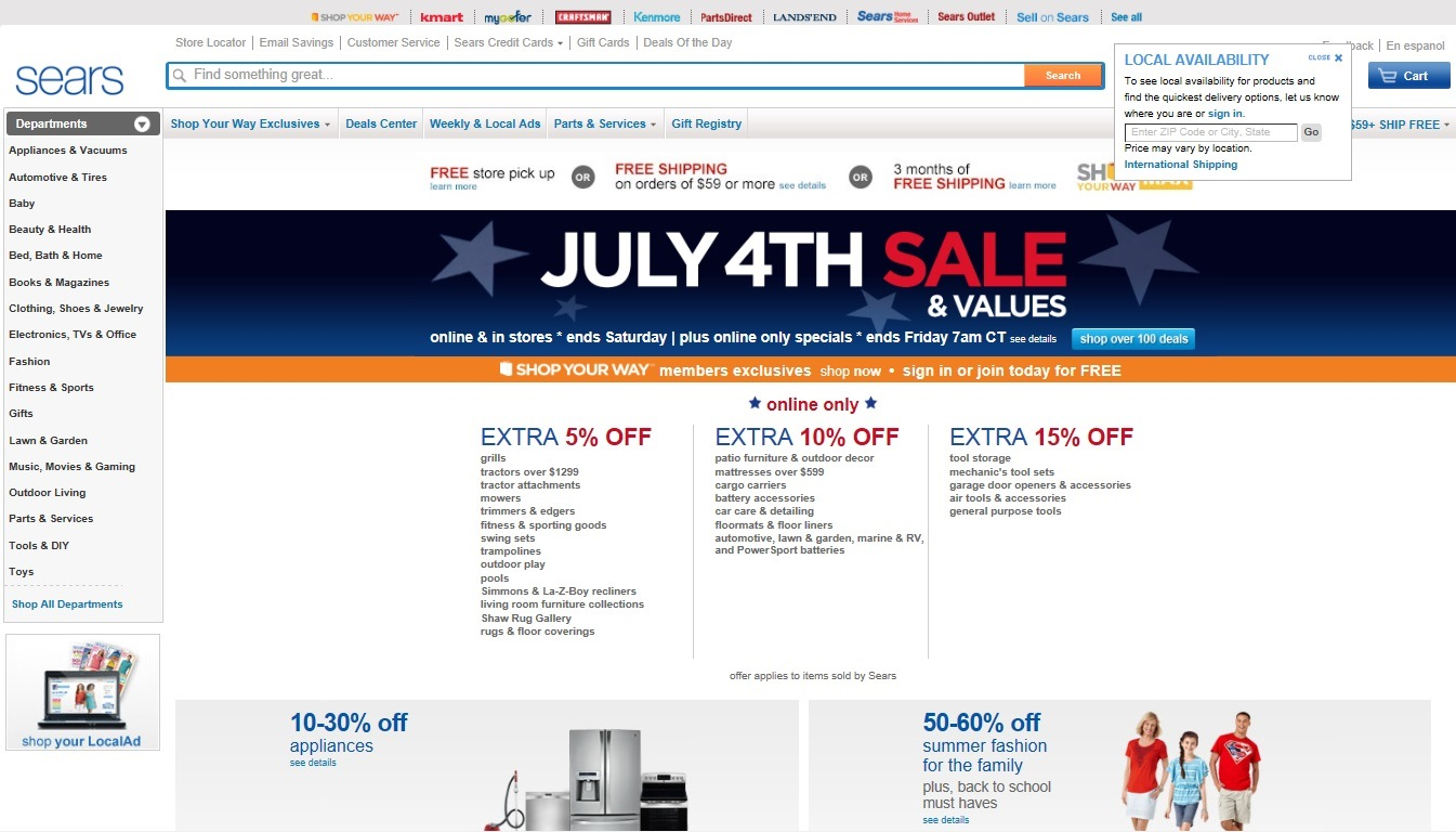 Picture:Screen shot of Sears's website