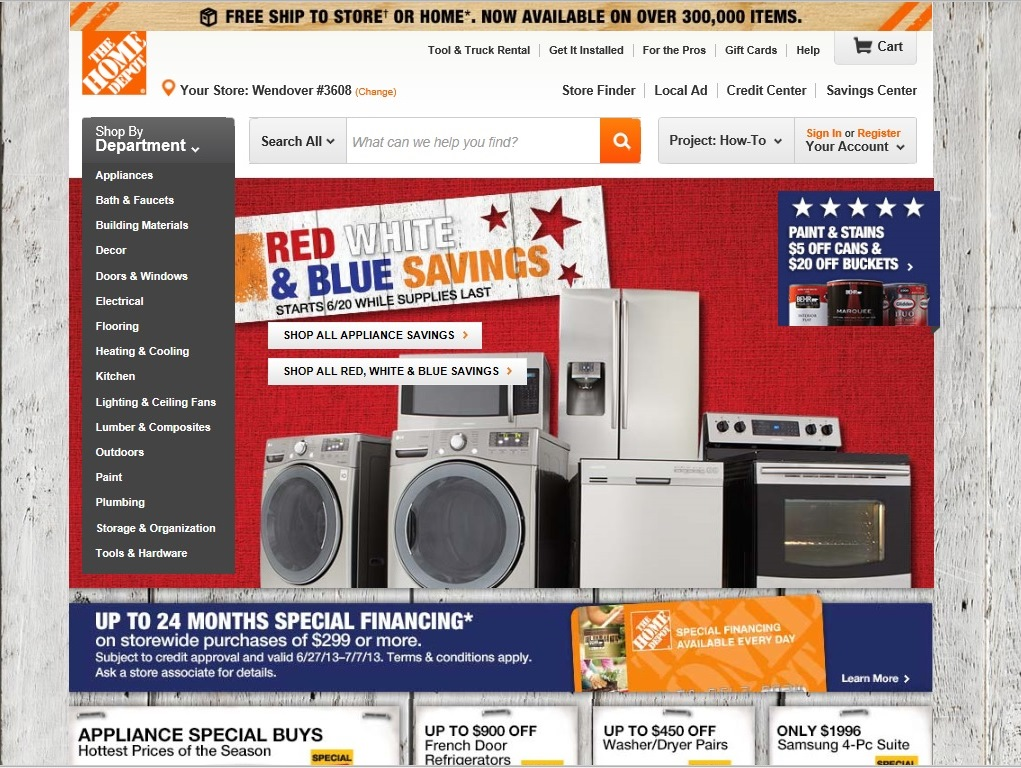 Picture:Screen shot of The Home Depot's website