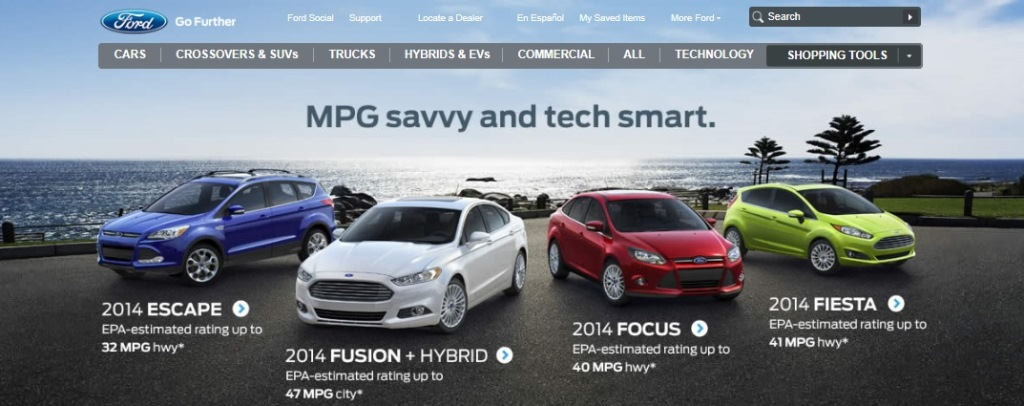 ※Picture:Screen shot of Ford USA's official Website