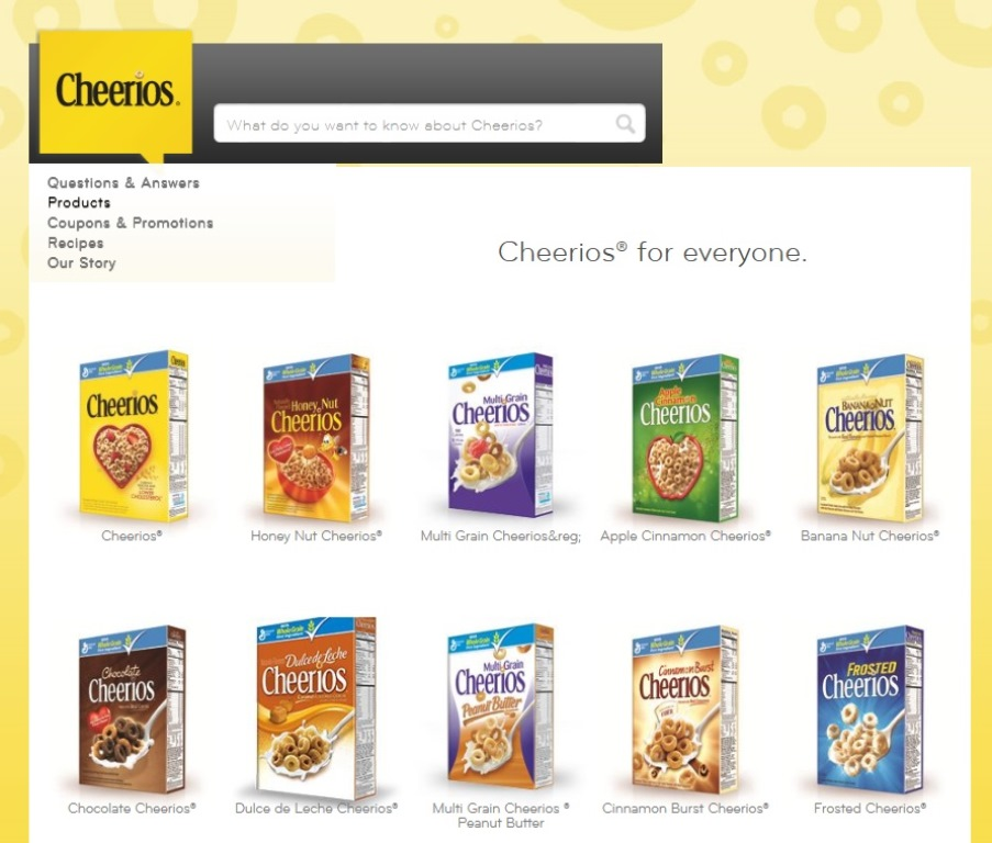 ※Picture:Screen shot of Cheerios's Product Website
