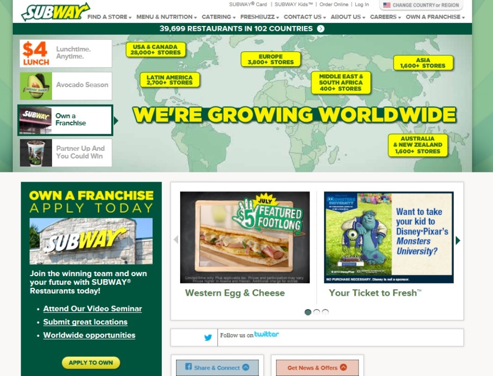 ※Picture:Screen shot of Subway's official Website