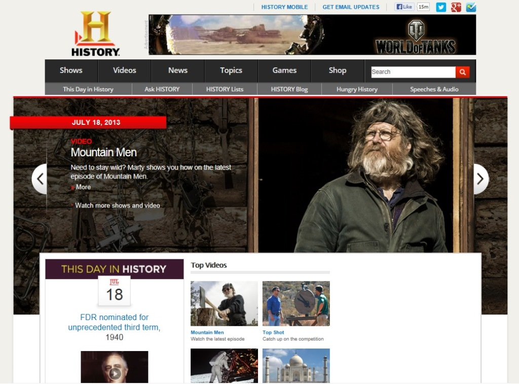 ※Picture:Screen shot of History Channel's official Website