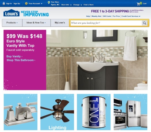 ※Picture:Screen shot of Lowe's's official Website