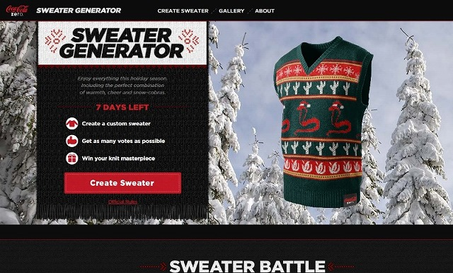 ※Picture:Screenshot of coke zero sweater generator