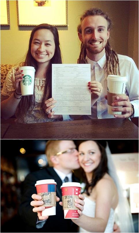 (写真#Starbucks Weddingのツイッターより) https://twitter.com/search?src=typd&q=%23starbuckswedding
