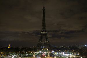 The Eiffel Tower's lights are turned off for the Earth Hour 2015