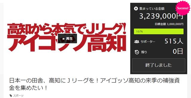 日本一の田舎、高知にJリーグを!アイゴッソ高知の来季のチーム運営の補強資金を集めたい!