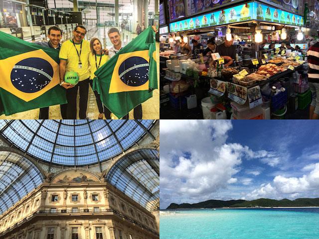 島田さんが旅で訪れた場所。(左上から時計回りで)ブラジル・台湾・ミラノ・沖縄